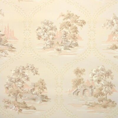 1940s Scenic Vintage Wallpaper Pink Gray Scenes W Trees And
