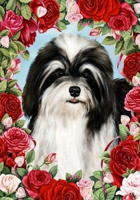 Garden Indoor/Outdoor Roses Flag - Black & White Havanese 190921