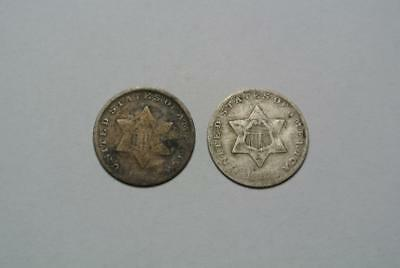 1852 & 1853 Silver Three, 3 Cent Pieces, Good/VG Condition - C4993