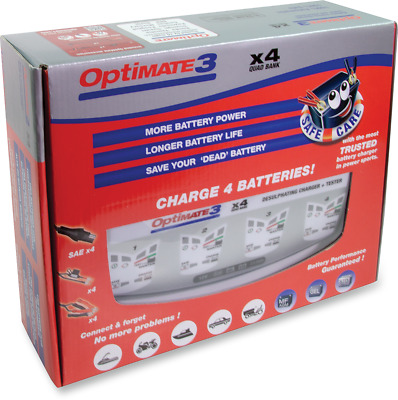 Tecmate TM-451 Optimate 3 Blue White Universal Motorcycle 4 Bank Battery Charger