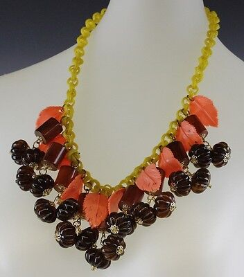 Signed JAN CARLIN Electric Forest Retro Wild Cherry Red Bakelite Leaf Necklace