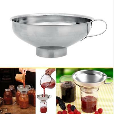 Silver Pouring Liquid Funnel Filter Jam Strainer Hopper Stainless Steel Kitchen
