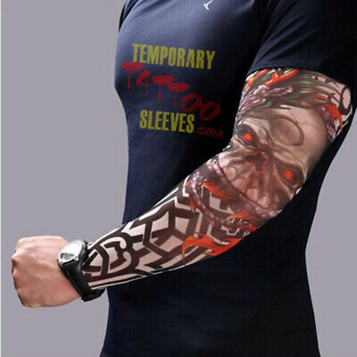 8 PCS Nylon Elastic Fake Temporary Tattoo Sleeve Designs Body Arm Stockings Tato