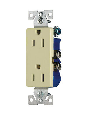 Eaton 1107A-BOX Decorator Grounding Receptacle, 15A-125V, 2-Pole, 3-Wire, Almond