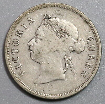 1896 STRAITS SETTLEMENTS Silver 50 Cents Coin (17112902R)