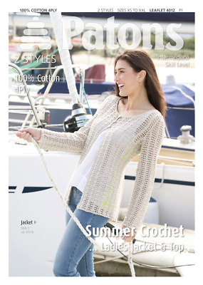 Patons Crochet Pattern Ladies Lacy Cardigan & Top Cotton 4ply Yarn 4012