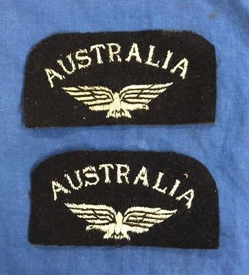Ww2 Royal Australian Air Force Shoulder Patches.originals With Eagles. Rare