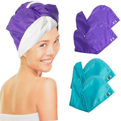 2pk Multi-Use Shower Cap, Twist Bathroom Hair Set Wrap Washable Soft Terry Lined
