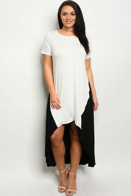 WOMENS PLUS SIZE Black and White Color Block Hi Low Dress 3X NEW ...