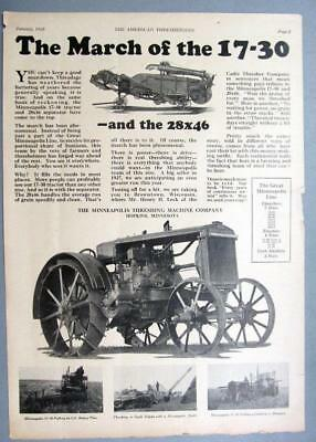 10x14 Orig 1928 M-M 17-30 B Tractor Ad THE MARCH OF THE 17-30 ..FILLS THE NEEDS