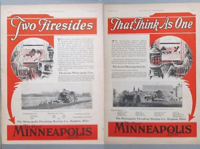 10x14 Original 1928 M-M 17-30 A Tractor Ad TWO FIRESIDE....THINK AS ONE