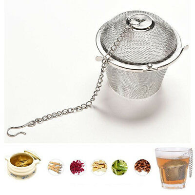 Tea Infuser Ball Mesh Loose Leaf Herb Strainer Stainless Steel Secure Locking 2""