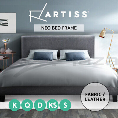Artiss Single Double Queen Size Bed Frame Base Mattress Fabric Wooden Grey NEO