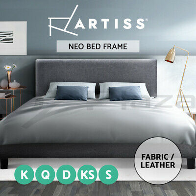 QUEEN DOUBLE SINGLE Size Bed Frame Leather Fabric Wooden Mattress Base NEO