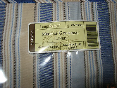 Longaberger Medium Gathering Basket liner in cabana stripe mint in bag not used!