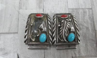 Signed STC Turquoise & Coral Vintage Sterling Silver Wristwatch Lugs ~ 14-A452