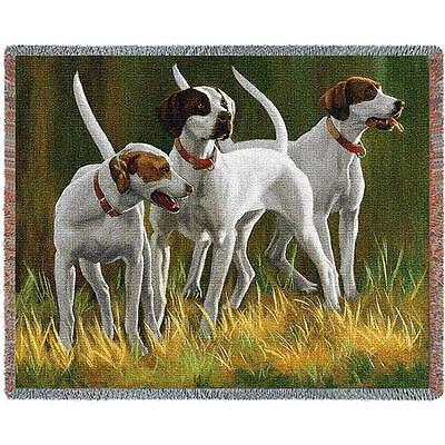 """Throw Tapestry Afghan - """"First Light Hounds"""" Pointers by Bob Christie 3293"""