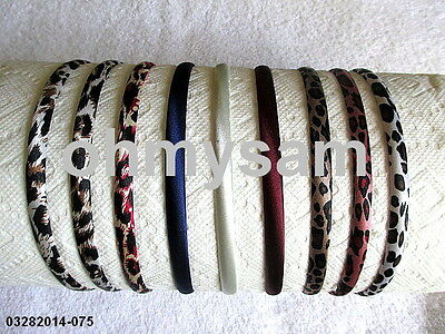 9 New Multi Color Satin Covered Hard Headband Animal Print Mix Style & Design