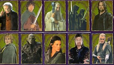 Lord Of The Rings Fellowship 2001 Merlin Foil Album Sticker Set Of 32