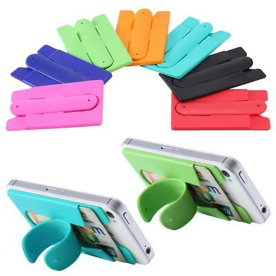 6 ASSORTED COLOR SILICONE WALLET CREDIT CARD PHONE STAND holder slim stick on