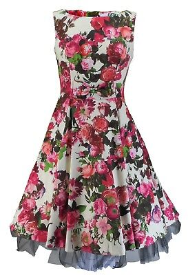 HEARTS & ROSES Audrey 50s Cream Floral Swing Jive Dress