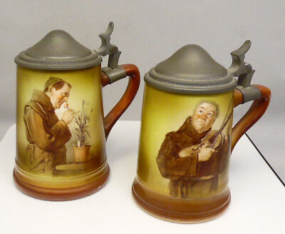 Pair of Antique French China Co Manning Bowman Monk Transfer Lidded Beer Steins