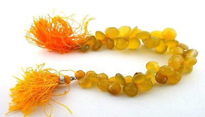 """220 Ct 9mm to 13mm Golden Yellow Agate Briolette Flat Pear Heart Bead 7"""" Strand"""