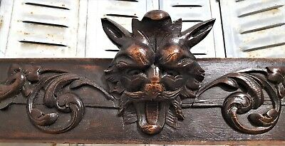 """LION GRIFFIN 43"""" HAND CARVED WOOD PEDIMENT ANTIQUE FRENCH CARVING PANELLING 19th"""