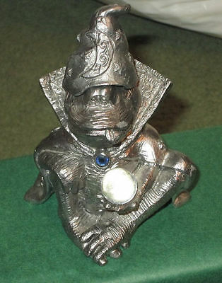 Rare MICHAEL RICKER Fantasy WIZARD Hat KALEIDOSCOPE Pewter CRYSTAL BALL Frog