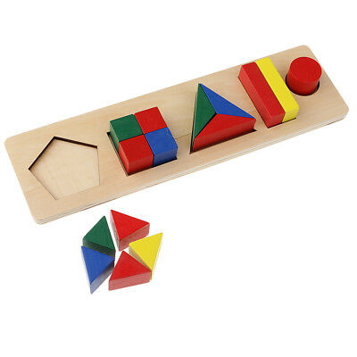 Kids Wooden Geometry Educational Toys Puzzle Montessori Early Learning #6