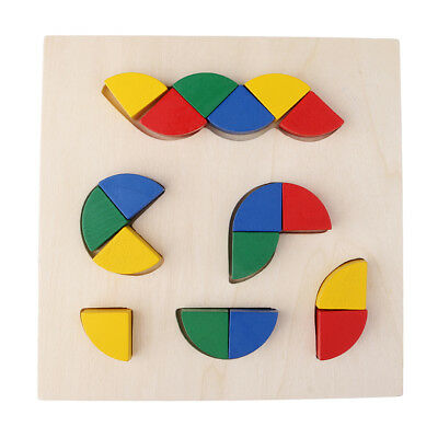 Kids Wooden Geometry Educational Toys Puzzle Montessori Early Learning #4