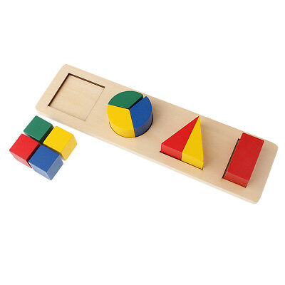 Kids Wooden Geometry Educational Toys Puzzle Montessori Early Learning #2