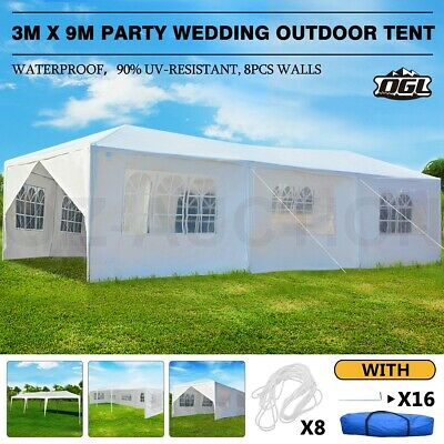 OGL 3x9M Party Wedding  Marquee Outdoor Tent Canopy Gazebo Camping w/ 8 Walls