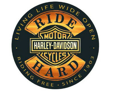 "Harley-Davidson® Bar & Shield Ride Hard Embossed 14"" Tin Sign Black Gold 2010671"