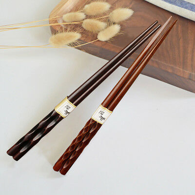 2 Pairs Japanese Chopsticks Wood Non-Slip Sushi Chop Sticks Set-Chinese Gift