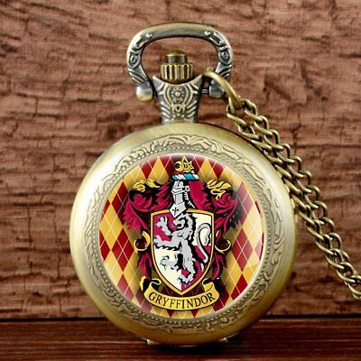 Antique Harry Potter Pocket Watch Quartz Hogwarts Gryffindor Pendant Necklace UK
