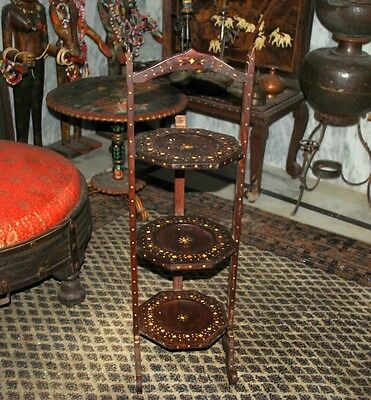 Antique British Colonial Inlaid Twist 3-Tier Cake Muffin Pie Stand Folding Table