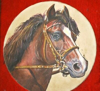 Antique Old Rare Collectible Beautiful Fine Horse Oil Painting On Ceramic Tile
