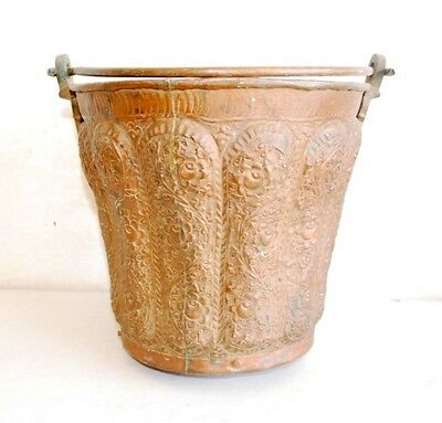 1800's Antique Old  Rare Copper Hand Engraved Islamic Big Bath Water Bucket