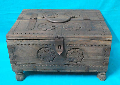 Antique Rare Old Hand Carved Big Wooden Tribal Money Collecting Box