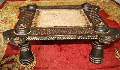 1800s Antique Wooden Brass Hand Carved Indian Royal Seating Stool Machi With Tat