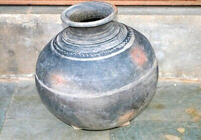 Water Pot Clay Antique Old Hand Crafted Big 13 x12 inch Big Water Pot