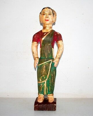 Indian Antique Woman Old Rare Wood Hand Carved Painted 18.5'' Big Statue Figure
