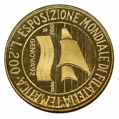 1992 Repubblica Italiana Moneta Lire 200 Genova ' 92 Expo Filatelia Proof Fs Mf2