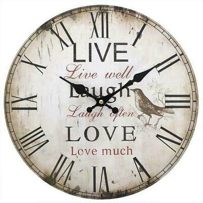 CLOCK Large Vintage Live Love Laugh Wooden Rustic Effect Wall Clock Home Decor