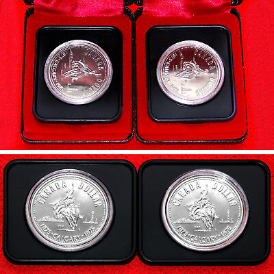 1975 Silver Issue Canadian Calgary Centennial Dollars (2 Silver Coins) + Box Unc