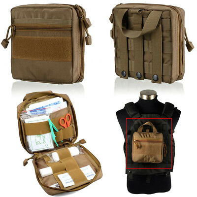 1000D Molle Tactical Military EDC Utility Tool Bag Medical First Aid Pouch Tan