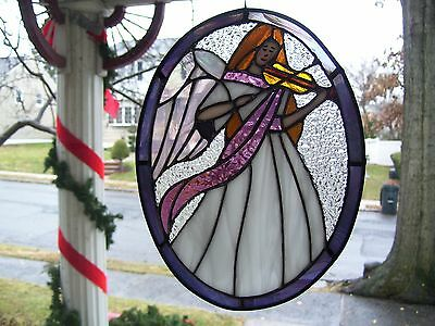 Stained Glass Musial Angel  Sun catcher (Real Glass)