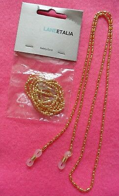 New In Packet RRP £8.95 Fabris Lane Sunglasses / Glasses Gold Chain Cord Strap