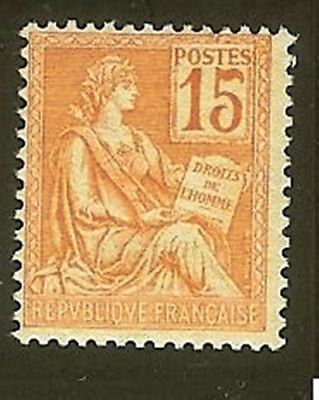 "FRANCE STAMP TIMBRE N° 117 "" MOUCHON 15c ORANGE "" NEUF xx LUXE  H911F"